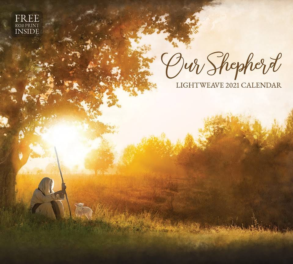 2021 calendar cover of Christ as a shepherd sitting beneath a tree.