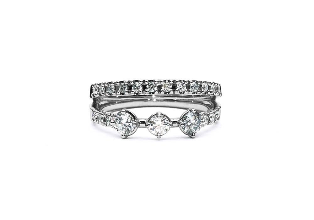 Bague de fiançailles à tiges superposées avec 21 diamants