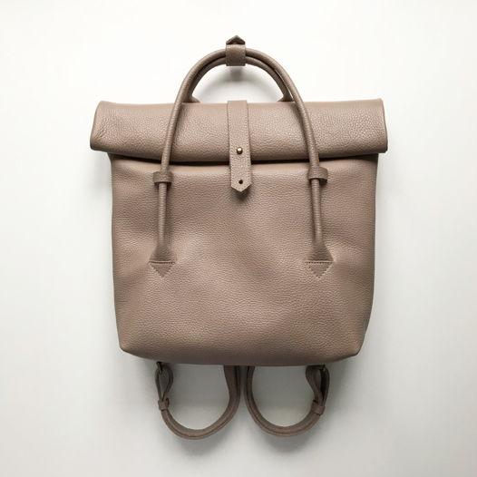 Кожаный рюкзак-сумка Rolltop Latte