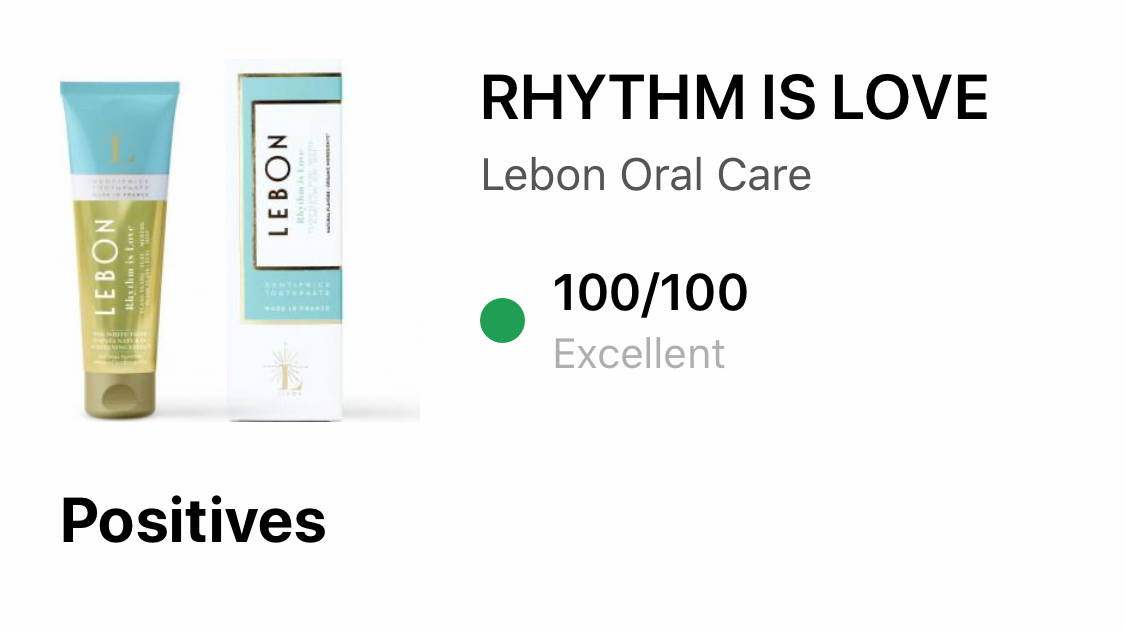 LEBON toothpaste review by YUKA for Rhythm is Love 100/100