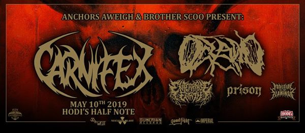 Carnifex w/ Oceano, Enterprise Earth, Prison, and Poolside At The Flamingo at Hodi's Half Note
