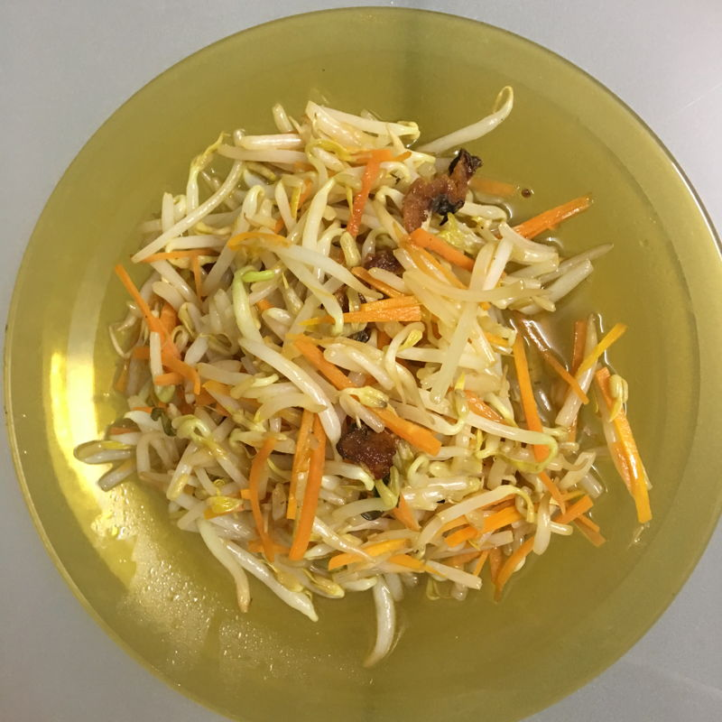 Nov 16th, 2019 - stirred fry bean sprouts with salted fish. A simple one.