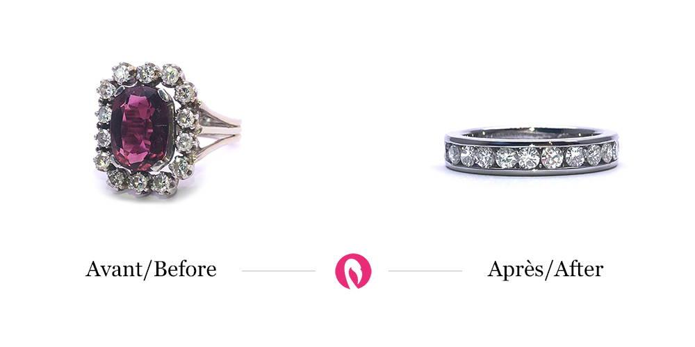 Transformation d'une bague ancienne monture avec 14 diamants et pierre précieuse au centre en une alliance moderne avec 14 diamants sans la pierre