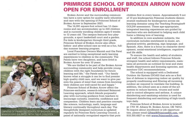 Tulsa Kids Primrose School of Broken Arrow Open Enrollment family pictures and school information