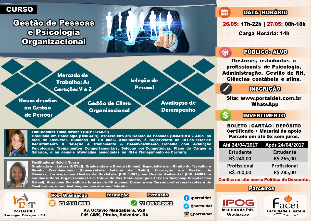CURSO: Gestão de Pessoas e Psicologia Organizacional