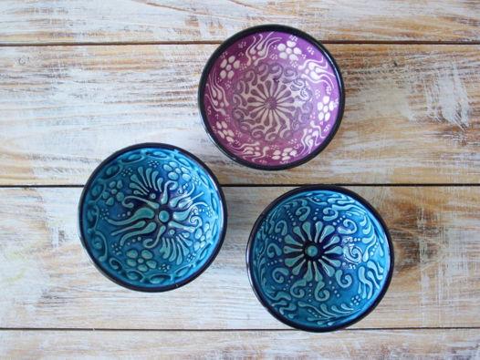 Набор фиолетовых и голубых керамических соусниц (3 шт)