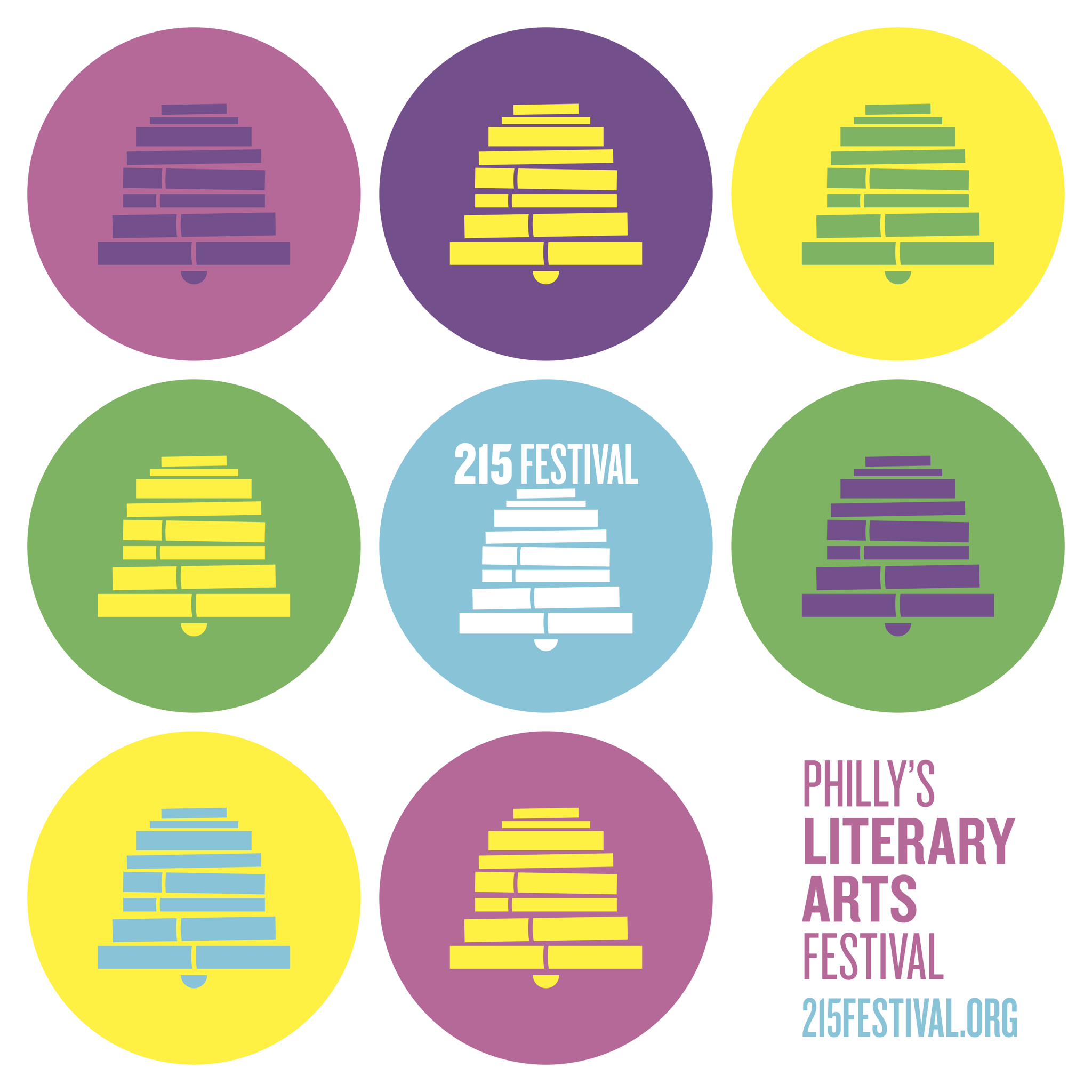 Logo of the 215 Festival, a stack of books mimicking the liberty bell