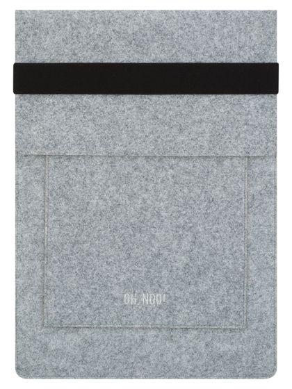 Чехол из фетра для MacBook и ноутбуков, серый, вертикальный с крышкой