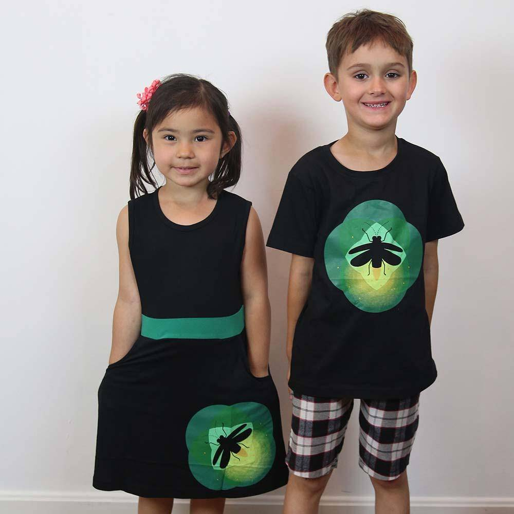 firefly glow-in-the-dark kids dress and t-shirt