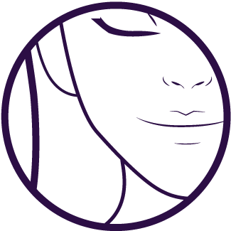 purple cheek waxing icon showing the side of the face