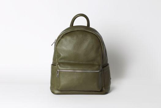 Кожаный рюкзак SASHA оливкового оттенка