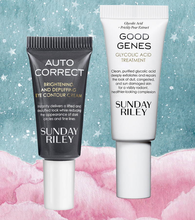 SUNDAY RILEY Good Genes Glycolic Acid Treatment, 5 ML And Auto Correct Brightening and Depuffing