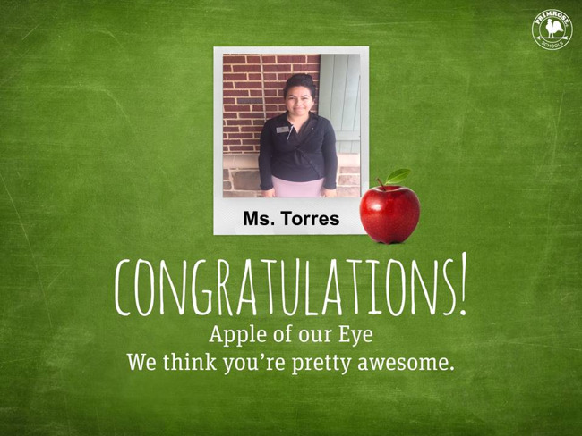 Ms. Torres teacher of the month