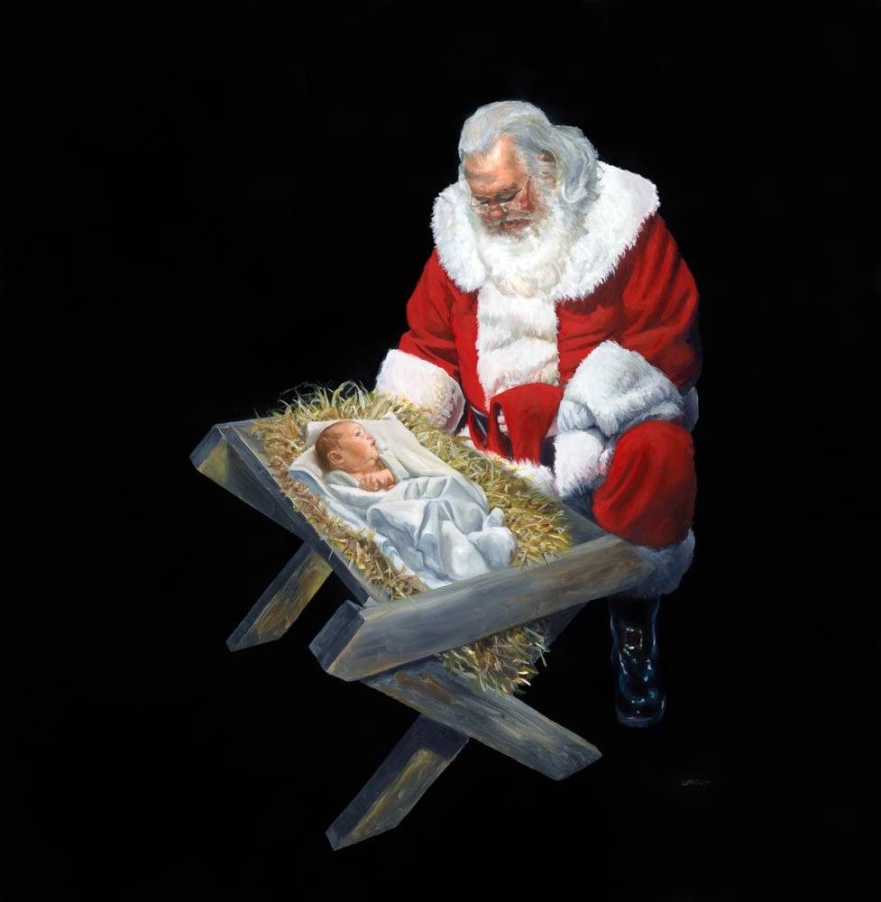 Santa Claus kneeling next to the manger that holds infant Jesus.