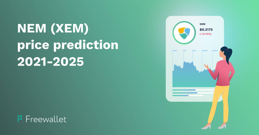 illustration of a woman looking at NEM (XEM) price chart