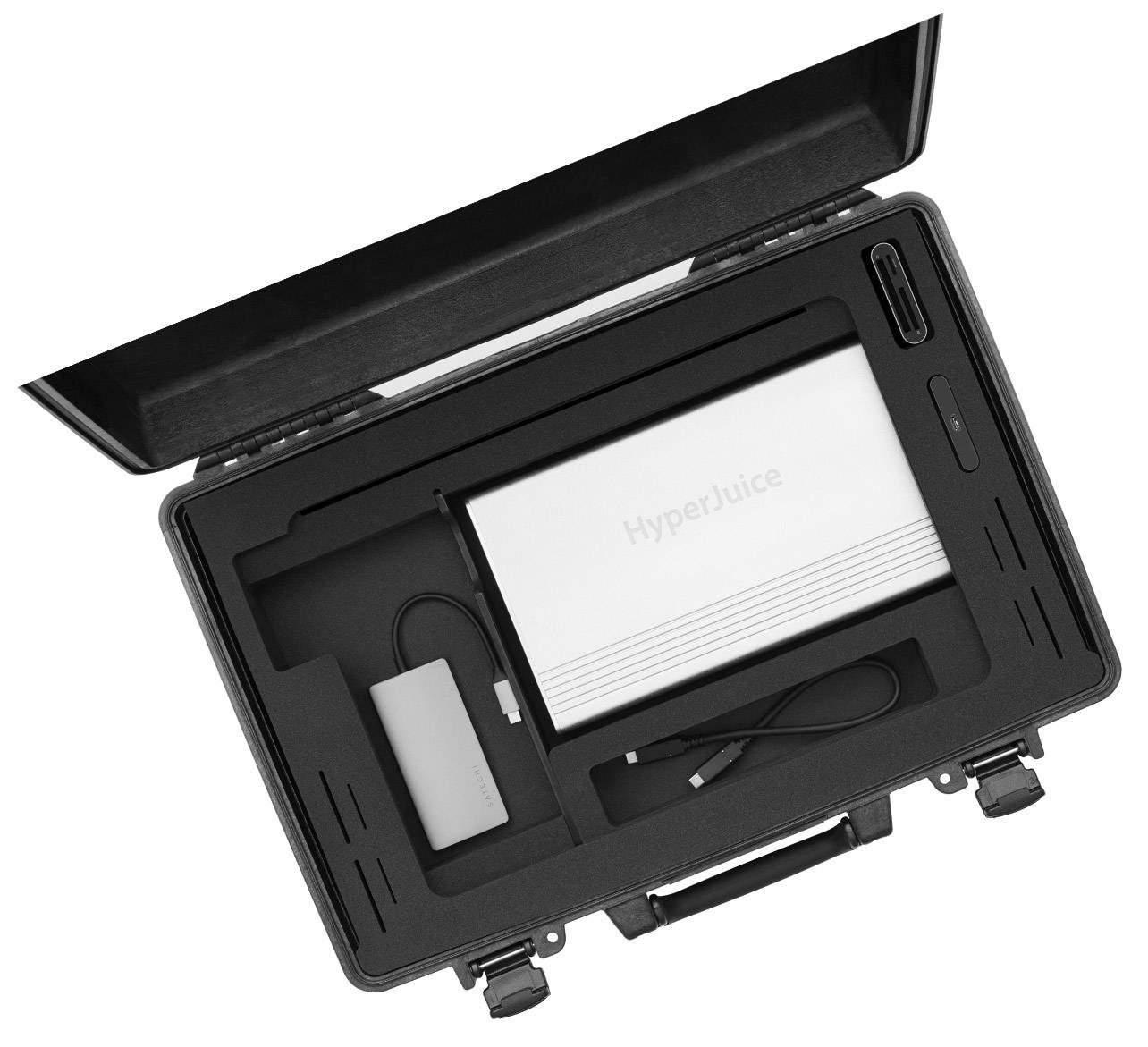 iworkcase open showing equipment storage design  on white