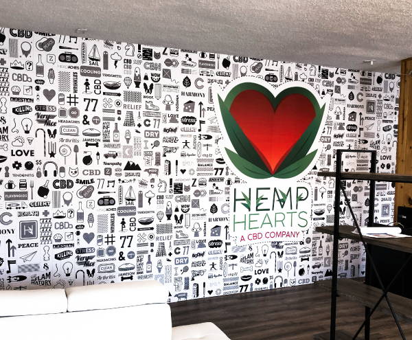 Interior Vinyl Wall Wrap -  Hemp Hearts Wall Wrap