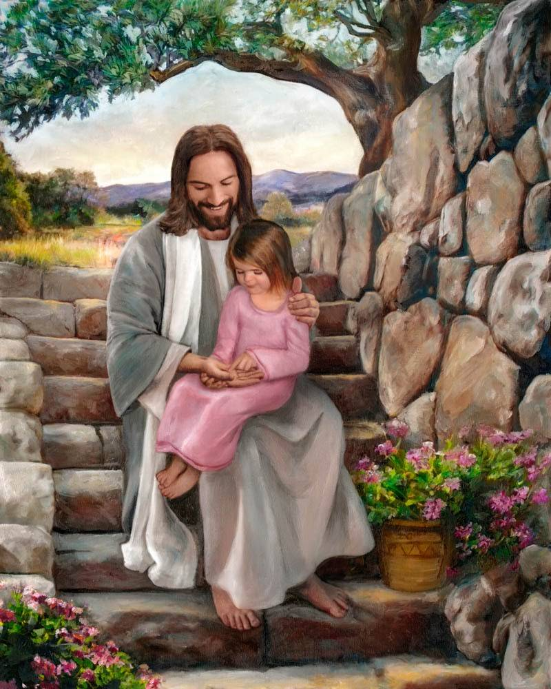 LDS art painting of Christ showing the scar in his hand to a little girl.