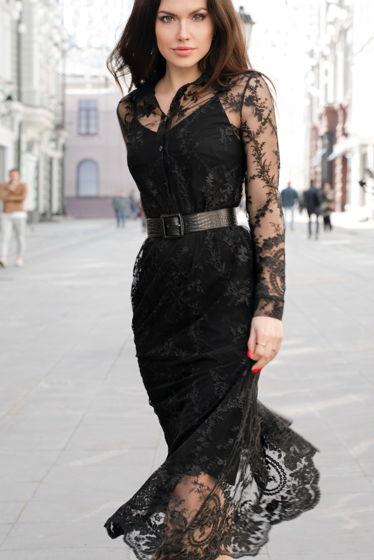 Чёрное гипюровое платье MurMur с фестоном
