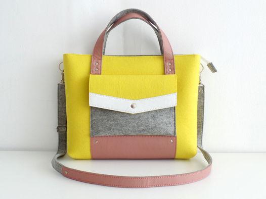Сумка-портфель из фетра и натуральной кожи лимонная