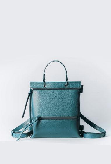 Рюкзак арт.RU3 из натуральной кожи цвет изумрудный