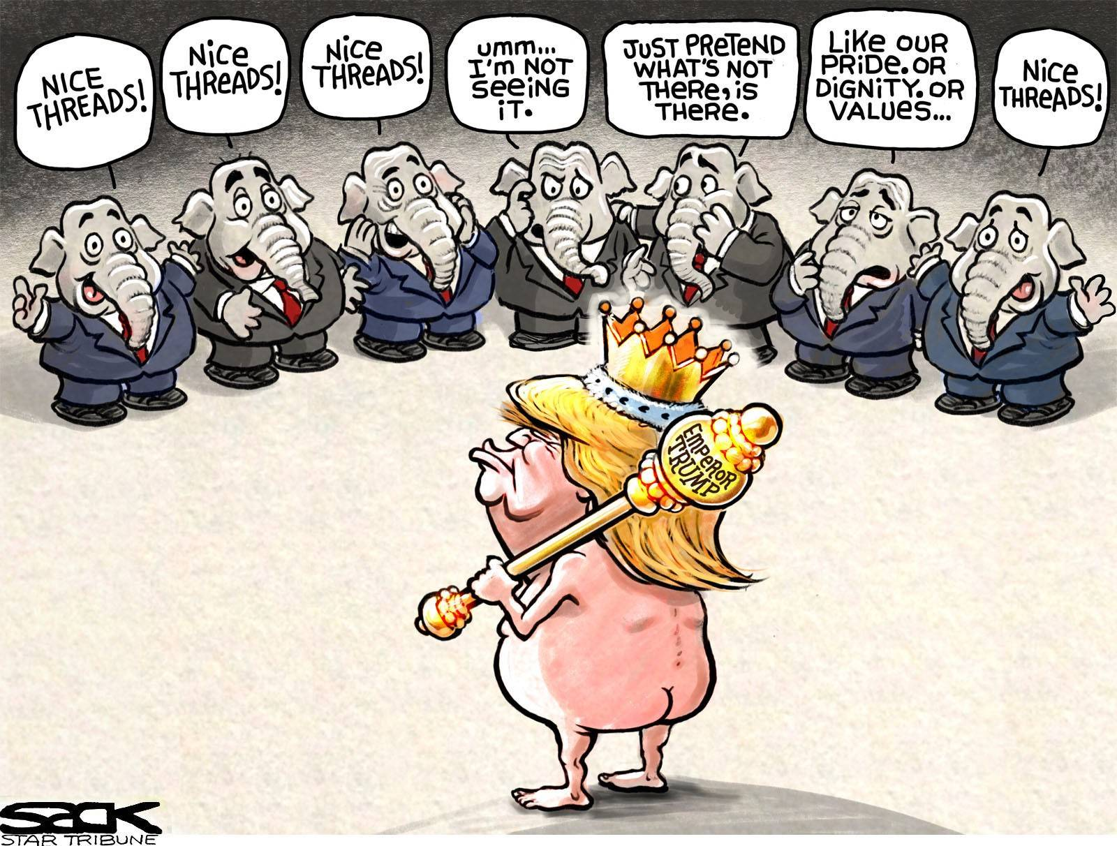 cartoon of Donald trump naked in reference to the emperors new cloths by Steve Sack, Minneapolis Star Tribune