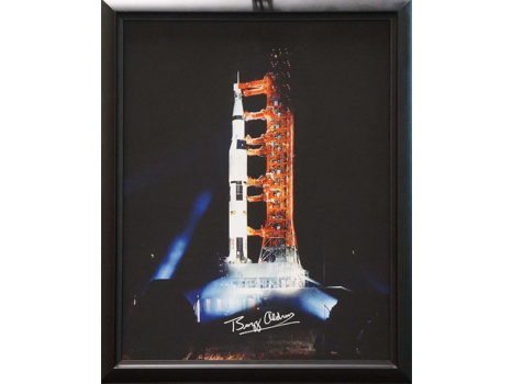 SATURN V ROCKET CANVAS SIGNED BY BUZZ ALDRIN