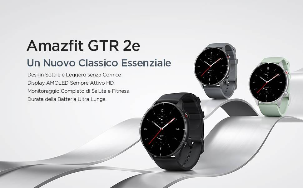 Amazfit GTR 2e - Design Sottile e Leggero senza Cornice | Display AMOLED Sempre Attivo HD | Monitoraggio Completo di Salute e Fitness | Durata della Batteria Ultra Lunga.