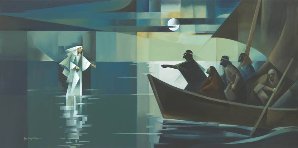 Modrern painting of Jesus walking on water toward apostles.