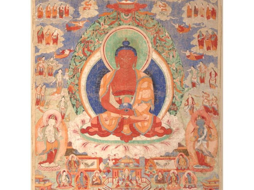 Amitayus Buddha Thangka, Late eighteenth century, Artist unknown, Pigments on cotton, 67 x 62 in., Purchased with funds provided by the Rubin-Ladd Foundation, 2003.17