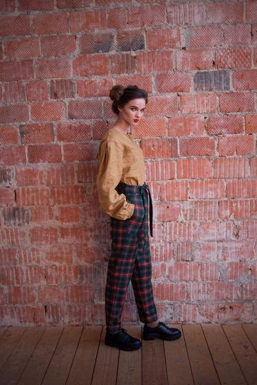 Тёплые зимние брюки с завышенной талией