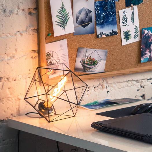 Настольная Геометрическая Лампа Икосаэдр (техника Тиффани)
