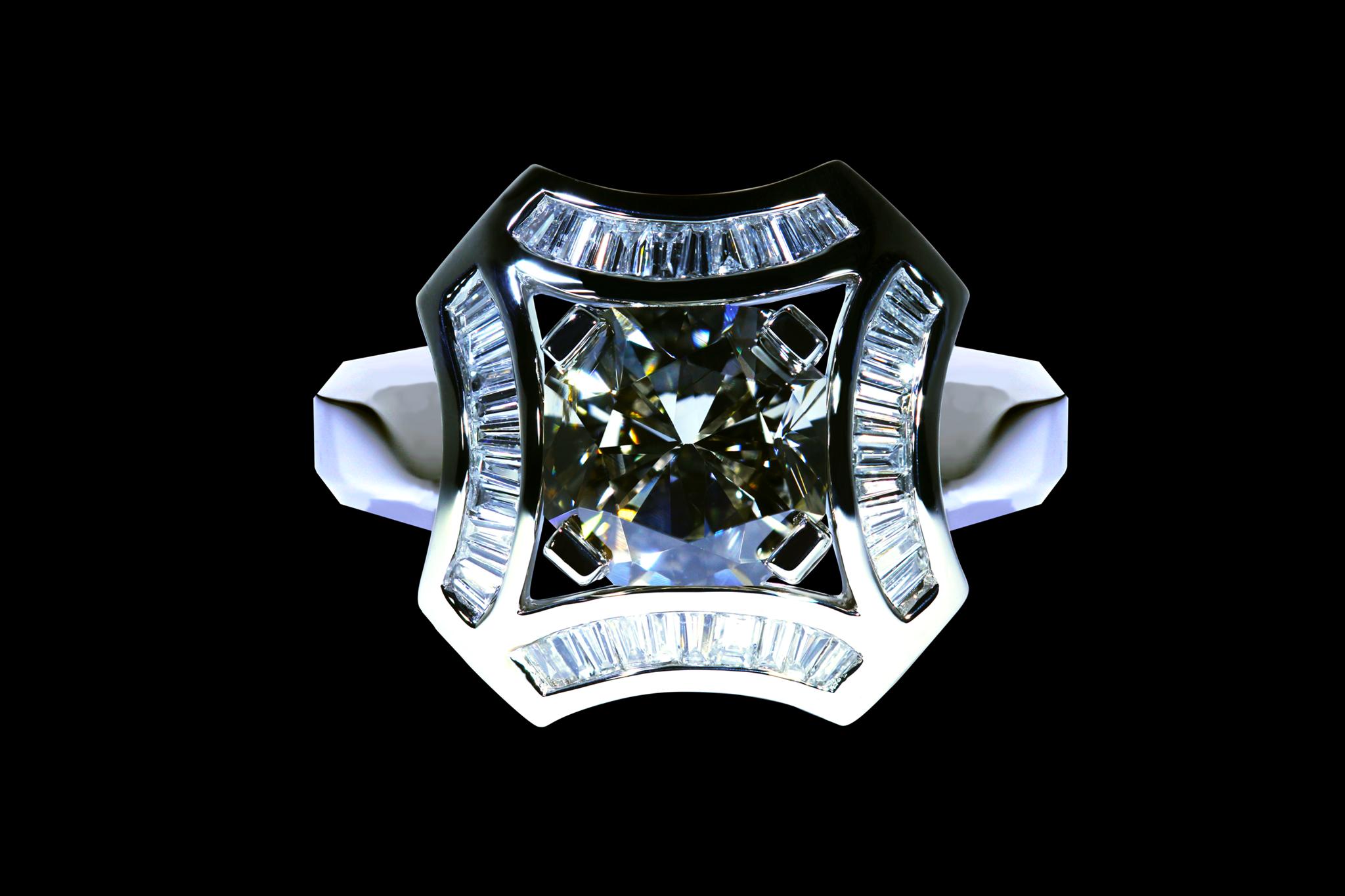 Rare Steel Grey Diamond Ring top view