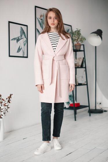 Пальто-кокон розового цвета