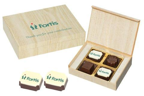 Personalized Business Gifts - 4 Chocolate Box - Alternate Printed Candies (10 Boxes)