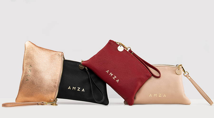 Four leather pouches in metallic peach, red, black and nude colour  with wrist strap