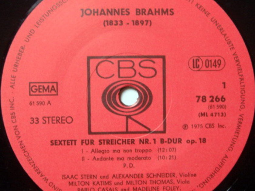 CBS Germany / CASLAS-STERN-SCHNEIDER, - Brahms Two String Sextets, NM, 2LP Set!
