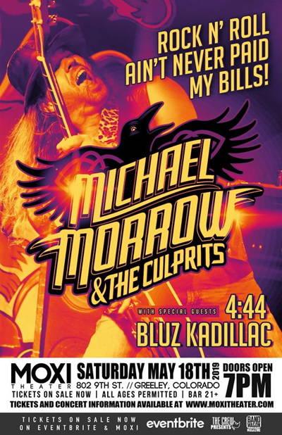 "Michael Morrow & The Culprits ""Rock n Roll Ain't Never Paid My Bills"" w/ The Band 4:44, Bluz Kadillac at Moxi Theater"