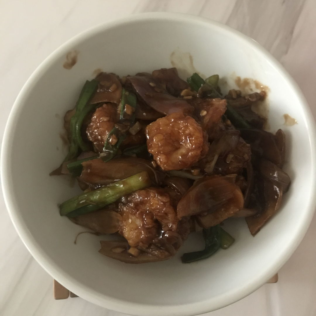 Kung Pao Prawns for lunch! 🍤 Yummy 🤤