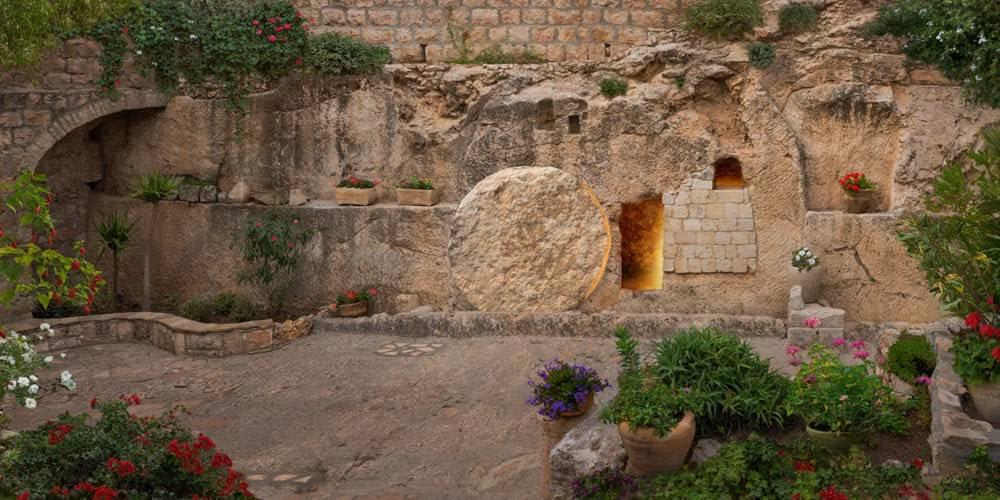 Resurrections art image of the garden tomb.
