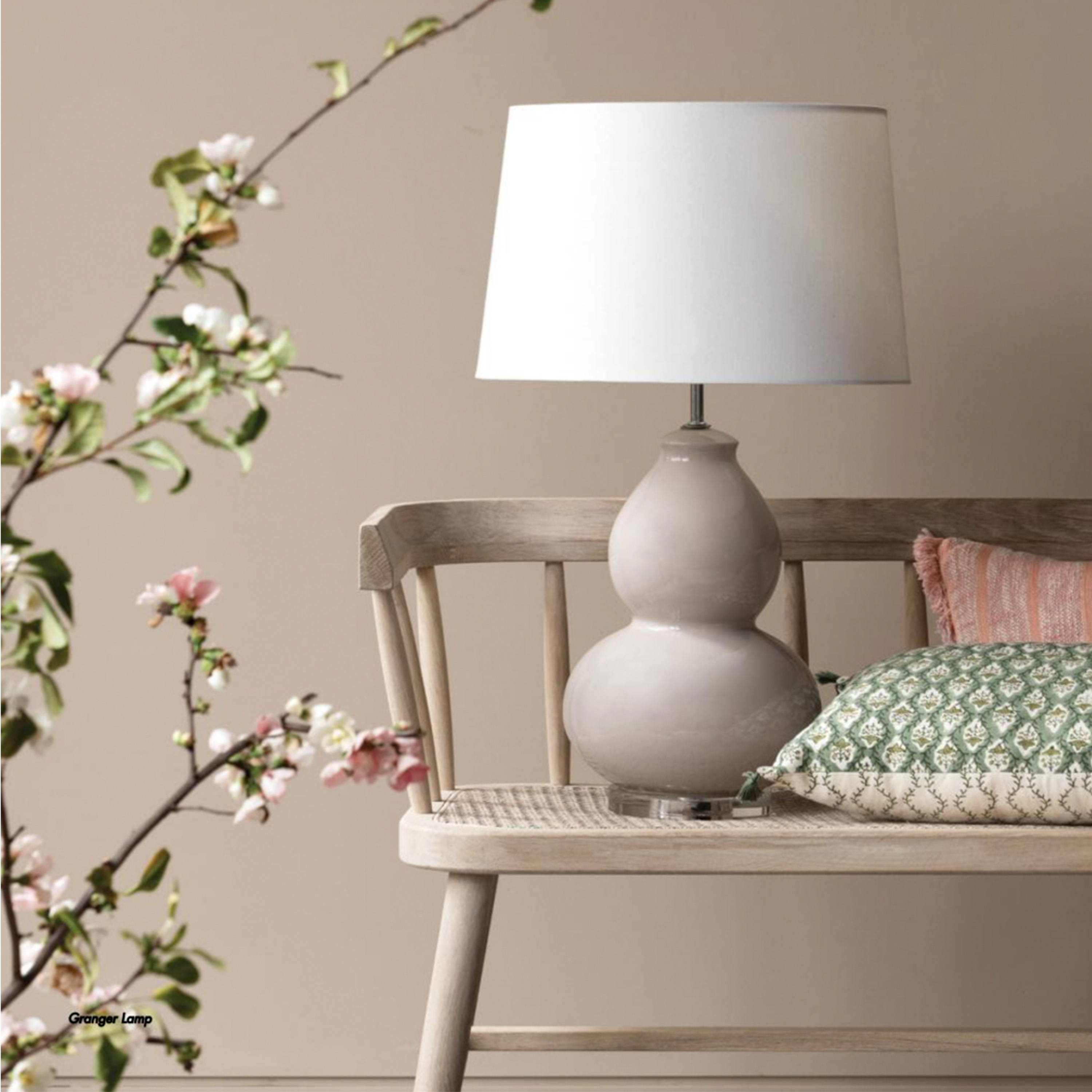 Bench Seat by Canvas and Sasson - A styled image with bench seat, lamp and cushions by Canvas and Sasson