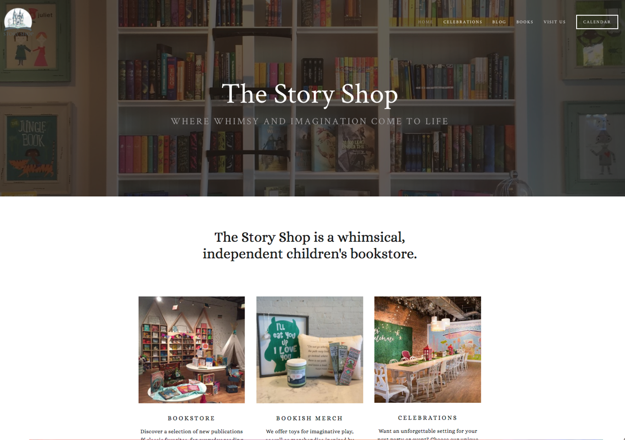 Screenshot of The Story Shop website shared on www.bridgidgallagher.com