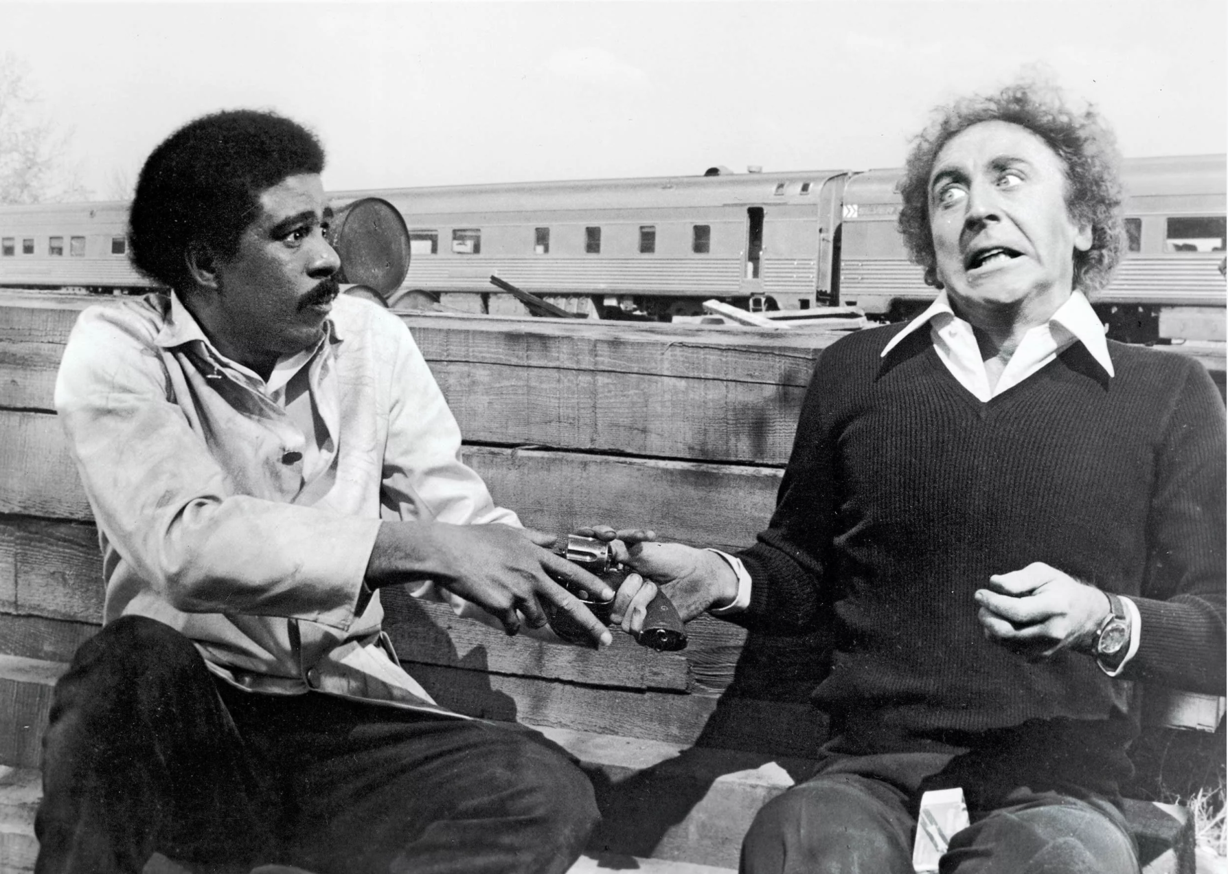 Black and white photo of Richard Pryor and Gene Wilder in the film