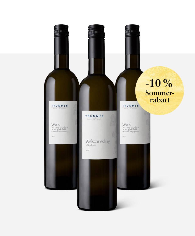 Drei Flaschen Basis-Weine vom Weingut Trummer