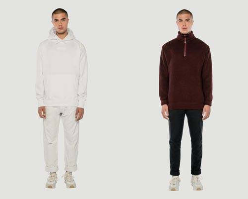 Man wears cream organic cotton hoodie with cream trousers and man wears burgundy 1/4 zip long sleeve top with black jeans from sustainable brand Rotholz