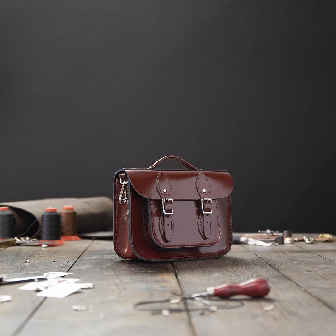 Red 11 inch Leather Work Bag
