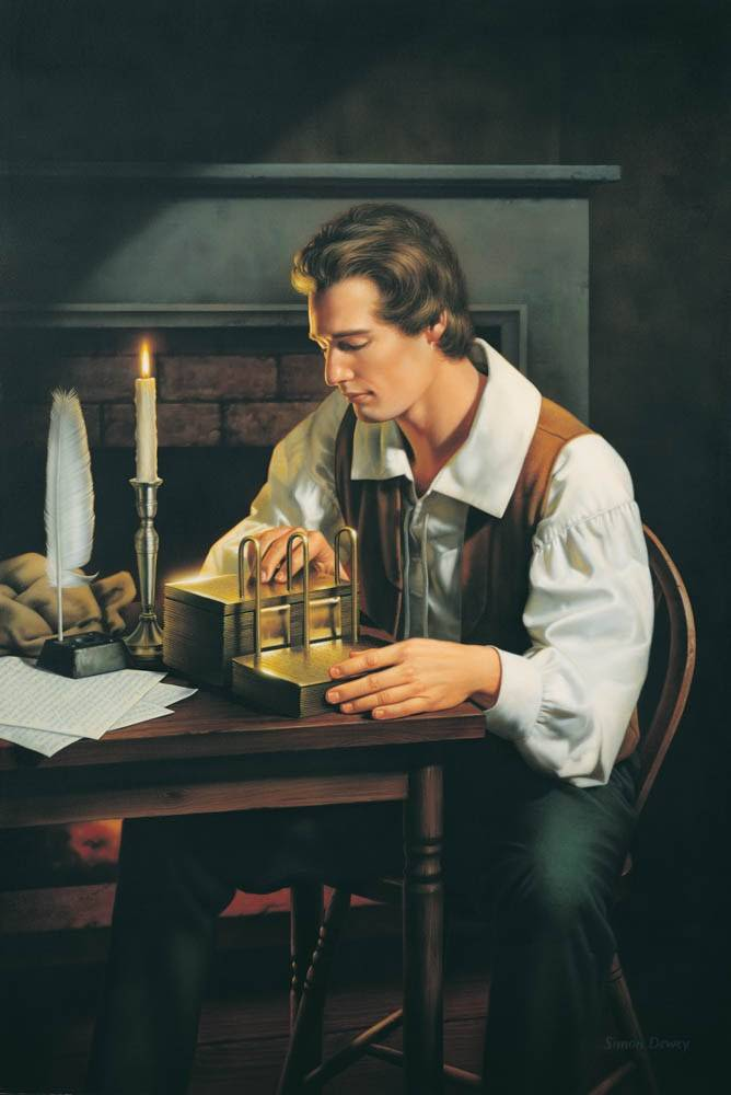 LDS art painting of Joseph Smith sitting at a desk with the gold plates translating.