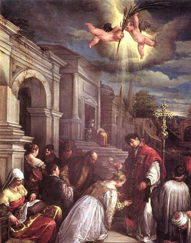 Renaissance style painting showing Saint Valentine uniting a couple under the gaze of two cherub angels.