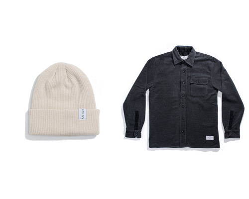 Cream cashmere beanie hat with small Anian labelling and black charcoal fleece shirt both from sustainable fashion brand Anian