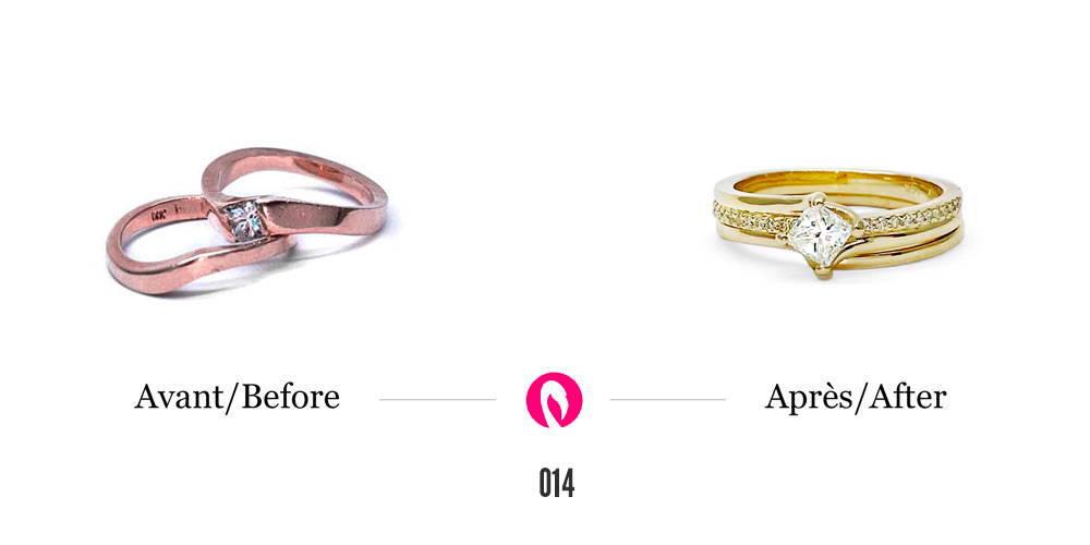 Deux bagues en or rose dont une avec diamant transformées en une bague semi-éternité en or jaune.